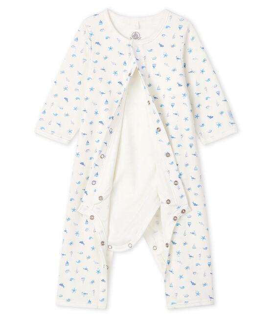 Bodyjama senza piedi bebè a costine bianco Marshmallow / bianco Multico