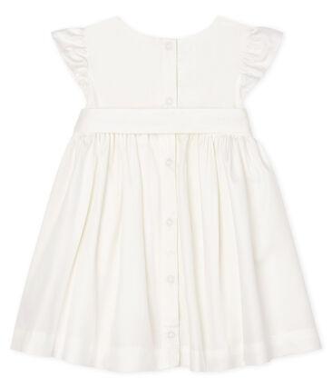 Abito a manica corta bebè femmina in raso bianco Marshmallow