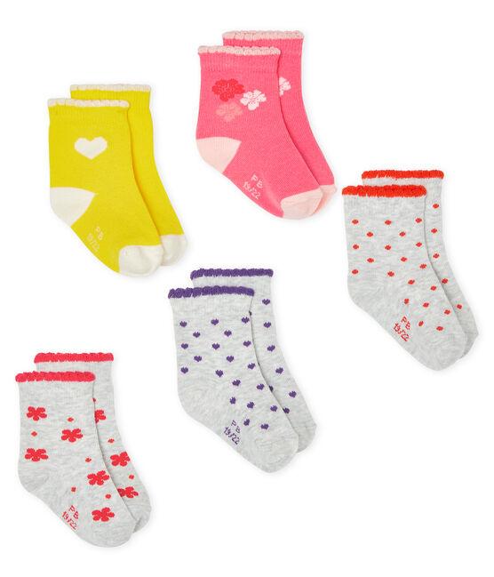 Set di 5 paia di calzini bebè bambina lotto .