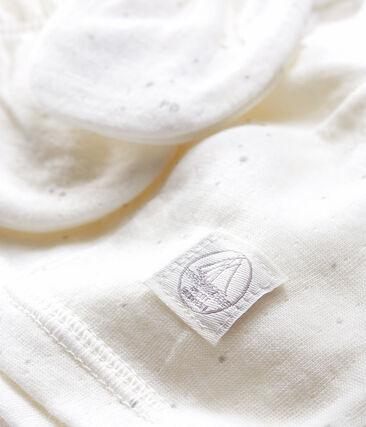 Confezione con cuffietta e muffole bebè in tubique lotto .