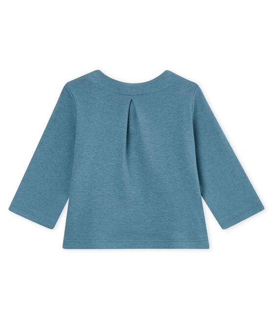 Cardigan bambina in cotone/lino blu Crystal