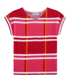 T-shirt in lino donna rosa Geisha / bianco Multico