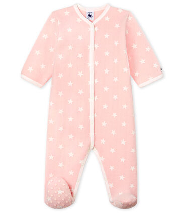 Tutina imbottita senza piedi bebé femmina in pile rosa Minois / bianco Marshmallow