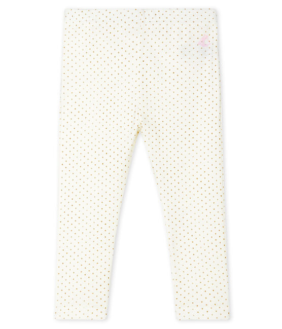 Leggings stampati bebè femmina bianco Marshmallow / giallo Or