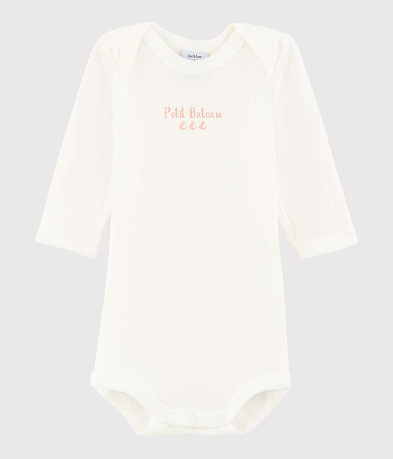 Body manica lunga bebè femmina bianco Marshmallow / rosa Patience