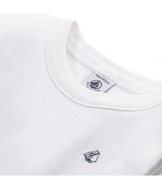 T-shirt maniche lunghe bambino in cotone grattat bianco Ecume