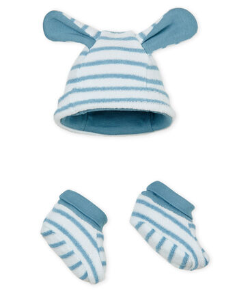 Cuffietta e babbucce bebè unisex a righe