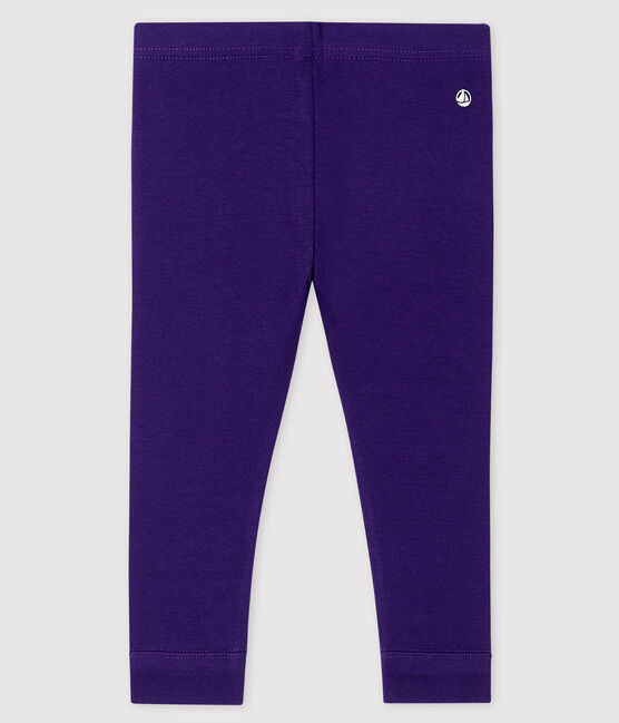 Leggings bebè femmina a costine 1x1 in tinta unita ROXO