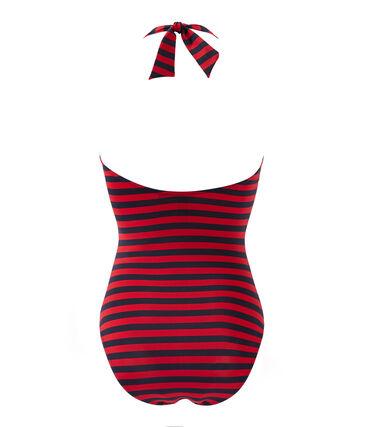 Costume da bagno donna intero a riga marinière blu Smoking / rosso Terkuit