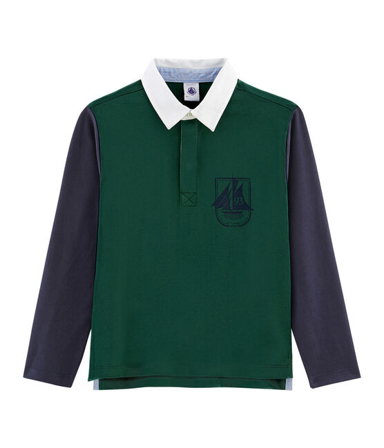 Polo rugby bambino verde Sousbois / blu Smoking