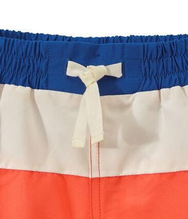 Boxer da bagno tricolore arancione Orient / bianco Marshmallow