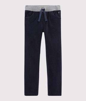 Pantaloni in velluto bambino blu Smoking