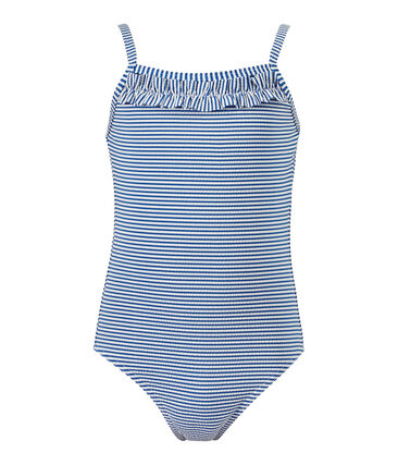 Costume da bagno bambina intero rigato blu Perse / bianco Marshmallow