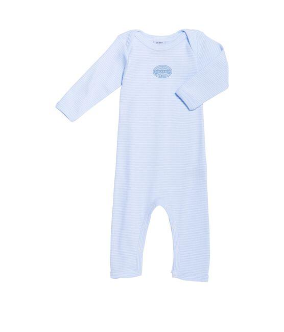 Body lungo bebé bambino millerighe blu Fraicheur / bianco Ecume