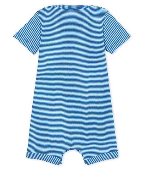 Tutina corta bebè maschio millerighe blu Riyadh / bianco Marshmallow