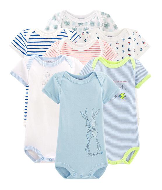 Pochette a sorpresa di 7 body a manica corta bebè maschio lotto .