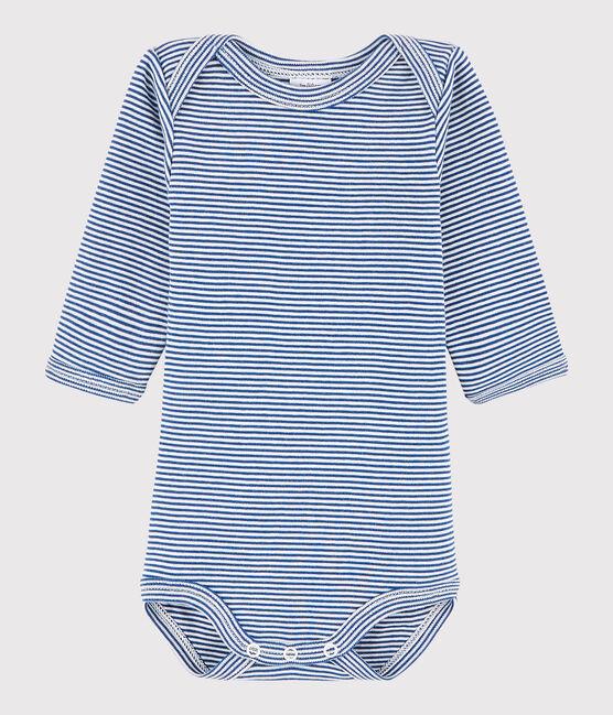Body manica lunga bebè unisex blu Limoges / bianco Marshmallow