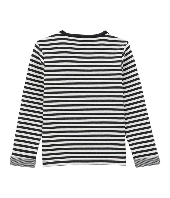 tee-shirtmaniche lunghe in jersey doppiato per bambino nero City / bianco Marshmallow