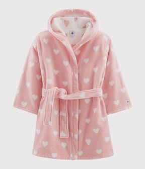 Accappatoio bambina a cuori in spugna rosa Charme / bianco Marshmallow