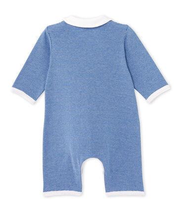Tutina lunga per bebè millerighe blu Delft / bianco Ecume