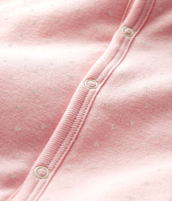 Tutina senza piedi bebè femmina a costine in ovatta rosa Minois / bianco Marshmallow