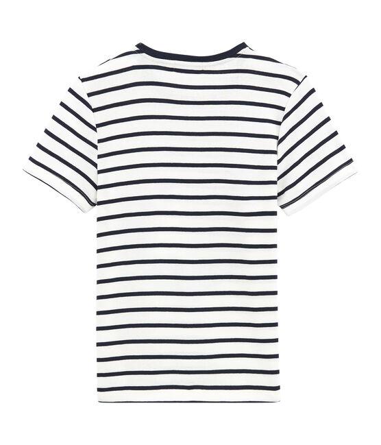 tee-shirtdonna righe marinière bianco Marshmallow / blu Smoking