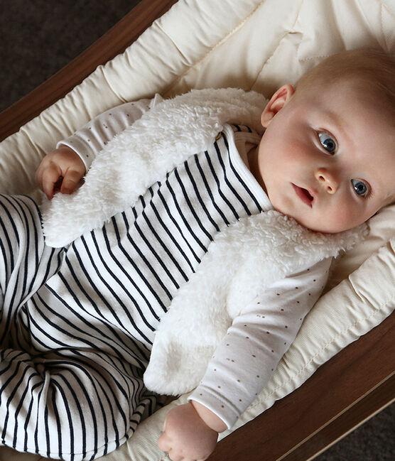 Completo due pezzi bebè maschio a costine bianco Marshmallow / blu Smoking