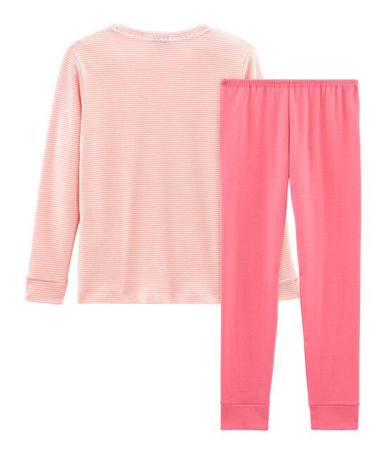 Pigiama bambina a costine modello molto aderente rosa Rosako / bianco Marshmallow