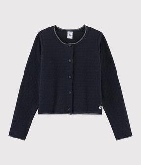 Cardigan tricot in lana e cotone bambina blu Smoking
