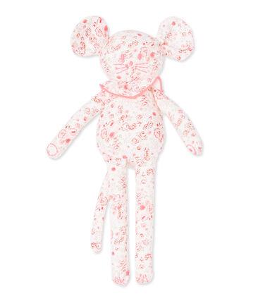 Doudou topino per bebè femmina stampato bianco Lait / bianco Multico