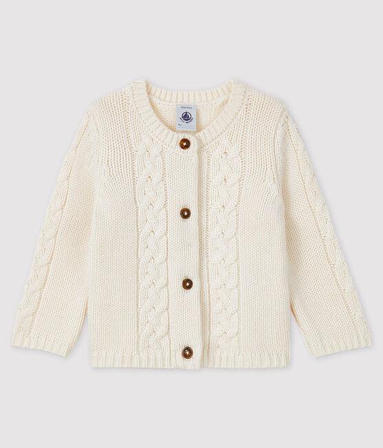 Cardigan lana e cotone bebè bianco Marshmallow