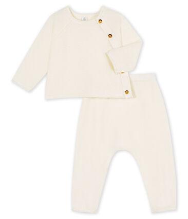 Completo due pezzi bebè in cotone, lana merino e poliestere bianco Marshmallow