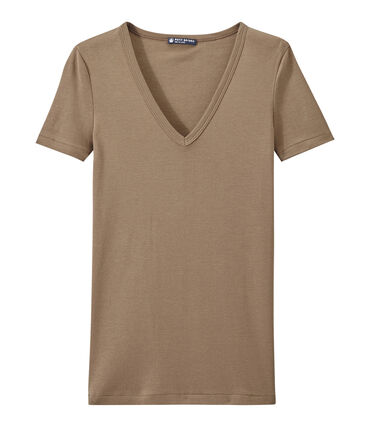 T-shirt donna scollo a V In costina originale 1X1 marrone Shitake