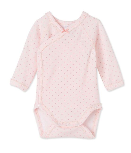 Body puericultura bebè bambina a maniche lunghe in lana e cotone rosa Vienne / rosa Gretel