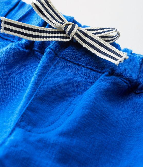 Short bebè maschio in lino blu Riyadh