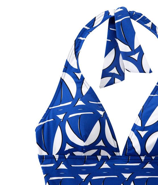 Costume da bagno donna intero stampato bianco Marshmallow / blu Perse