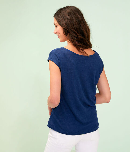 T-shirt in lino donna blu Medieval