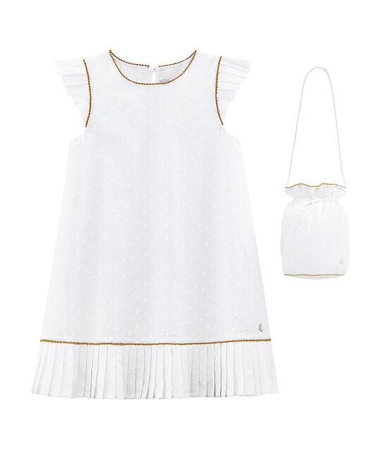Abito e borsetta da cerimonia bambina bianco Ecume