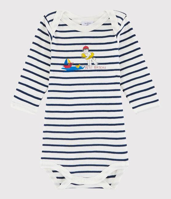 Body manica lunga bebè unisex bianco Marshmallow / blu Medieval