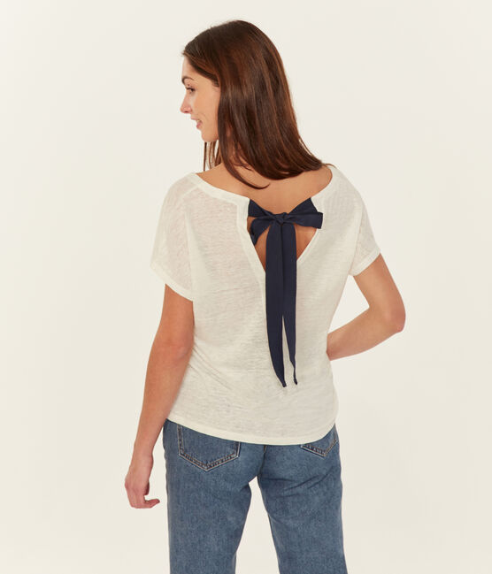 T-shirt in lino donna bianco Marshmallow