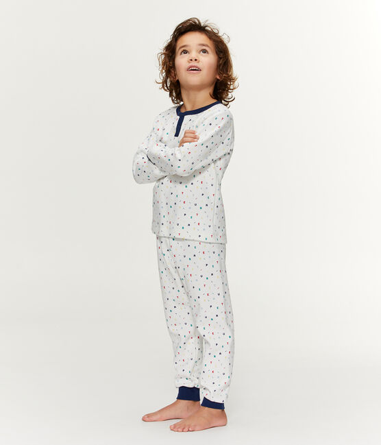 Pigiama bambino in molleton con vita alta bianco Marshmallow / bianco Multico