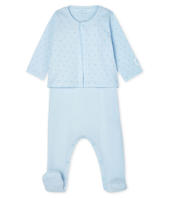 Completo 2 pezzi bebè a costine blu Fraicheur / blu Acier