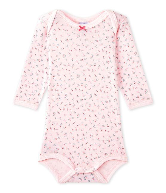 Body per bebé femmina a maniche lunghe stampato rosa Vienne / bianco Multico