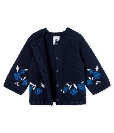 Cardigan bambina in maglia di lana e cotone blu Smoking / bianco Multico