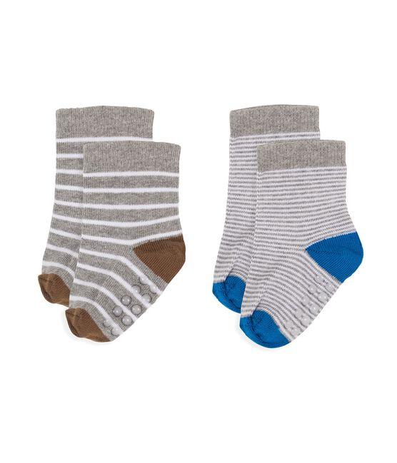 Confezione da 2 paia di calzini bebè maschio bianco Marshmallow / grigio Subway