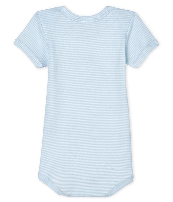 Body manica corta bebè maschietto-bambina blu Fraicheur / bianco Ecume