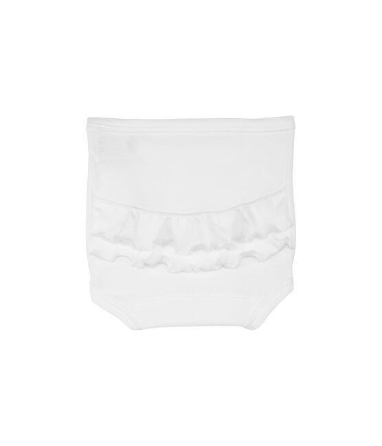 Culotte bebé con volants in cotone tinta unita bianco Ecume