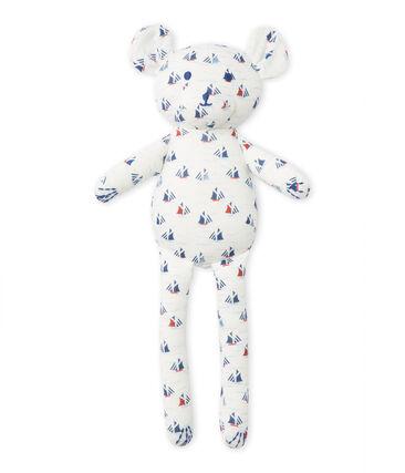 Doudou orsetto per bebè maschio stampato bianco Lait / bianco Multico