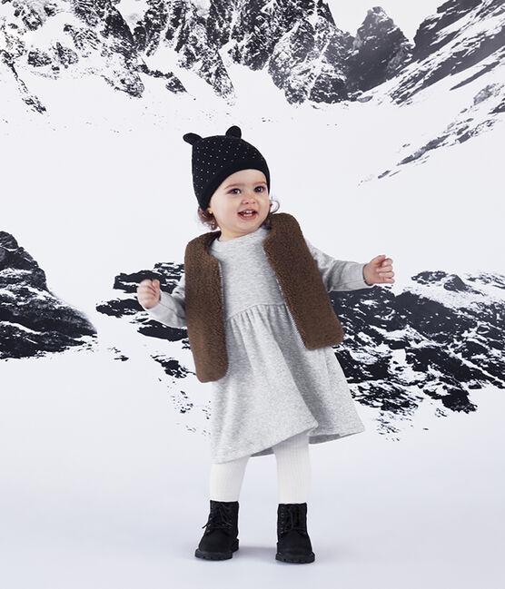 Cappellino bebè unisex foderato in pile blu Smoking / bianco Marshmallow