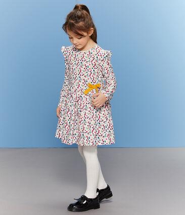 Abito stampato bambina bianco Marshmallow / bianco Multico